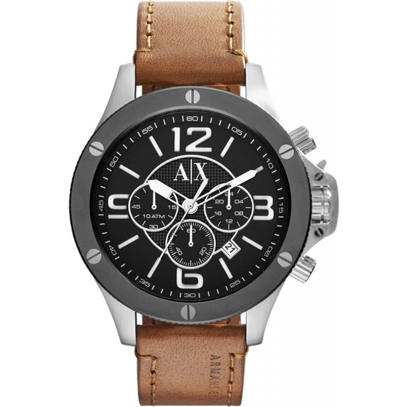 ax1509 mens armani exchange watch watches2u armani exchange ax1509 mens black tan leather strap chronograph sports watch