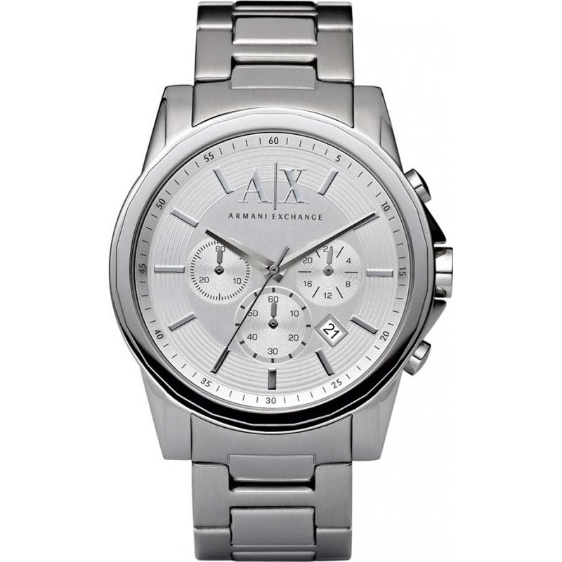 ax2058 dress armani exchange men s watch watches2u armani exchange ax2058 mens silver steel chronograph dress watch