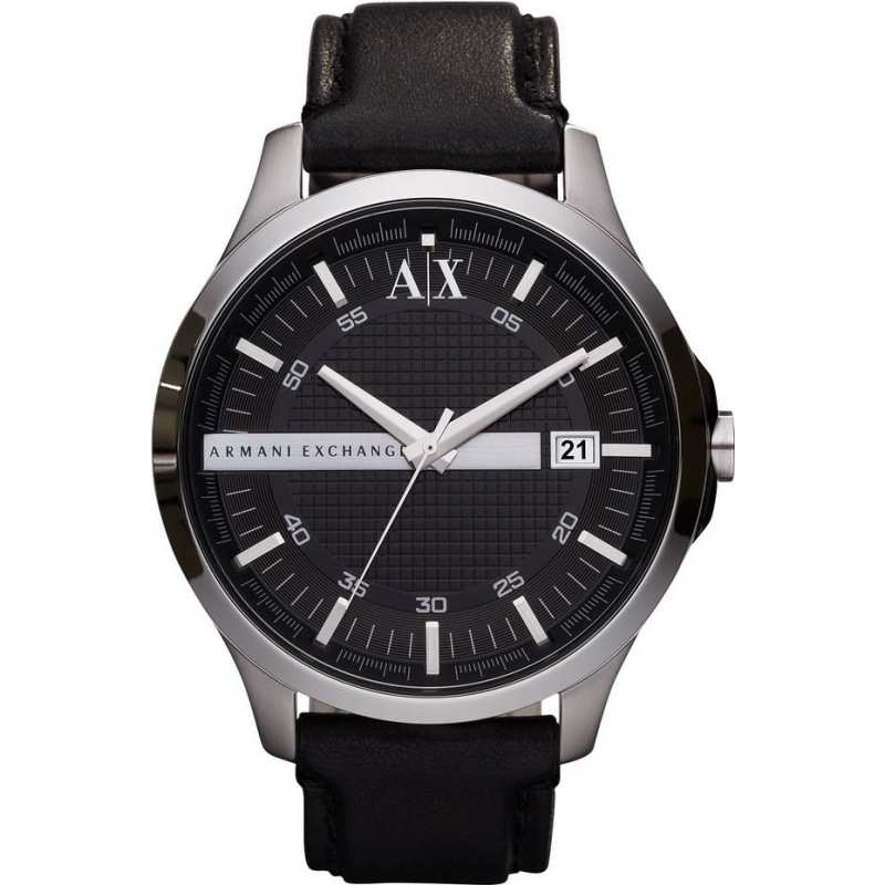 Black leather ax2101 armani exchange watch watches2u for Men gradient leather strap
