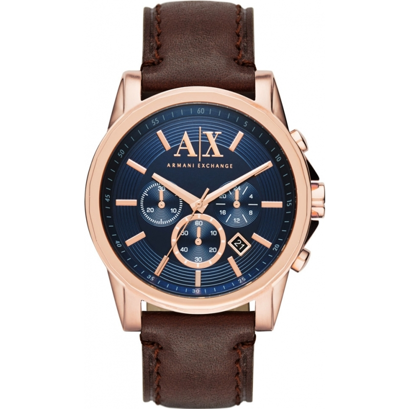 f788bf7ddd0 Armani Exchange AX2508 Mens Blue Dark Brown Chronograph Dress Watch