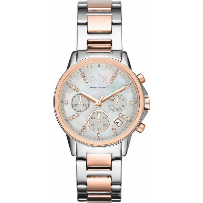 Armani Exchange AX4331 Ladies Silver and Rose Gold Chronograph Dress Watch f3fba8076e03