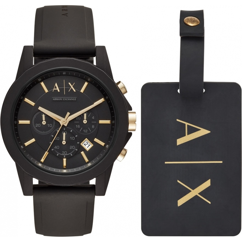 16541012f650 Armani Exchange AX7105 Mens Sport Watch and Luggage Tag Gift Set
