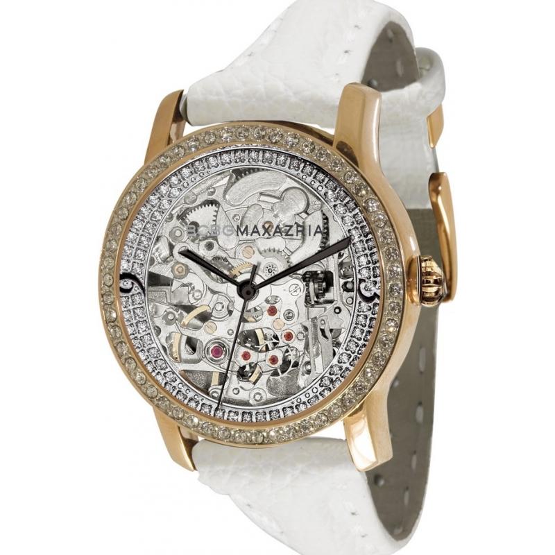 BCBG Max Azria Watches BG6209 Ladies Essentials Roulette Vip Crystals White Skeleton Watch