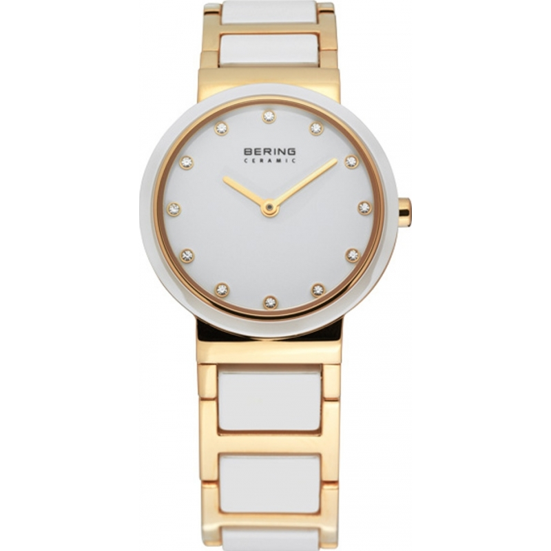 Bering Time 10729-751 Ladies Ceramic White Gold Watch