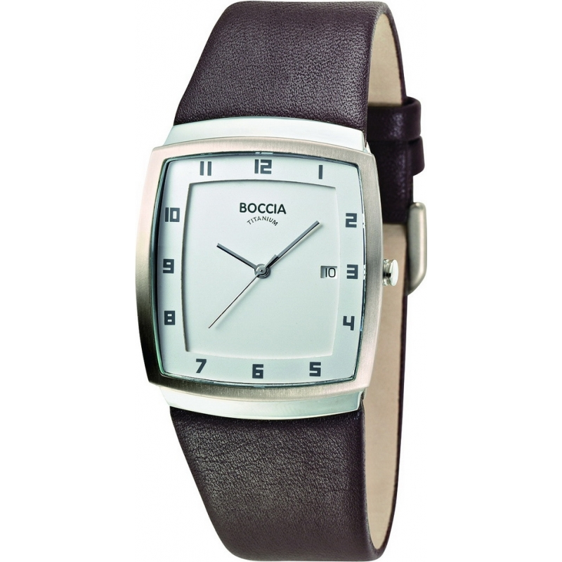 Boccia Watches B3541-01 Mens White Dial Brown Strap Titanium Watch