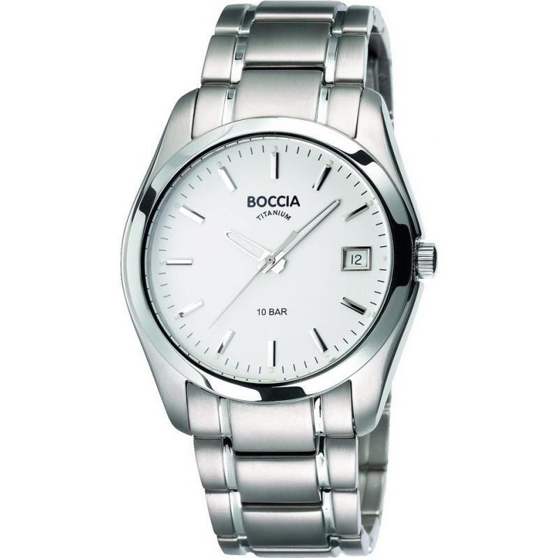 Boccia Watches B3548-03 Mens White Face Titanium Bracelet Watch