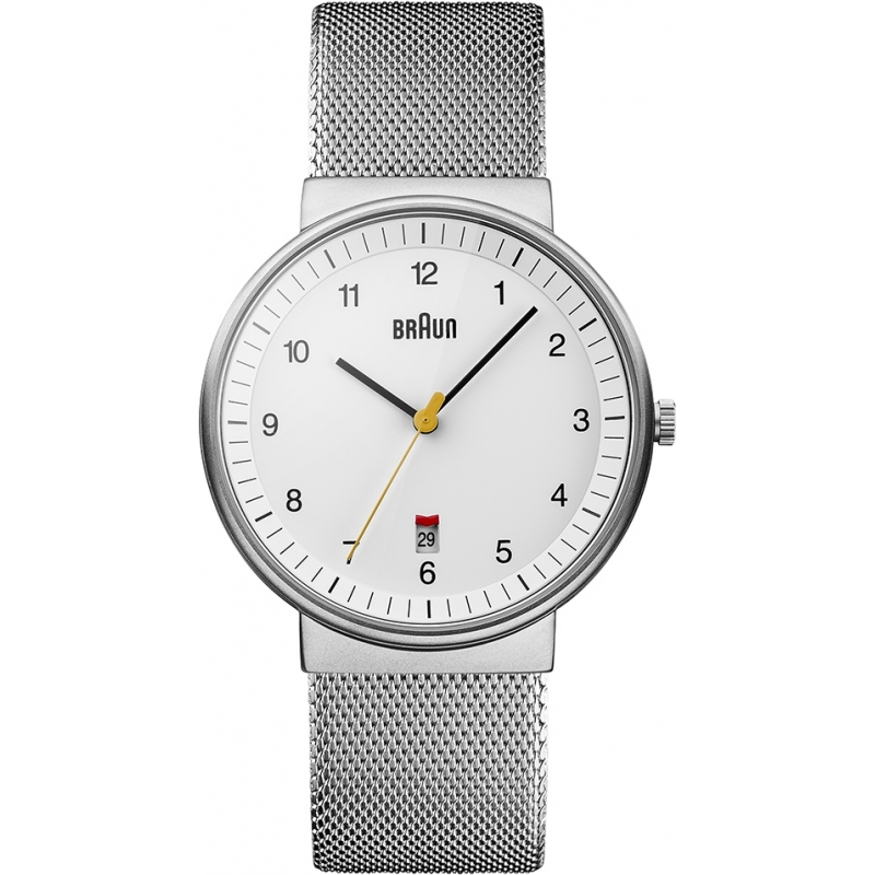 Braun Watches BN0032WHSLMHG Mens White Steel Mesh Watch