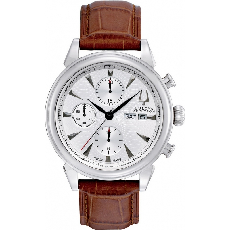 Bulova Accutron 63C107 Mens White Brown Gemini Chronograph Watch