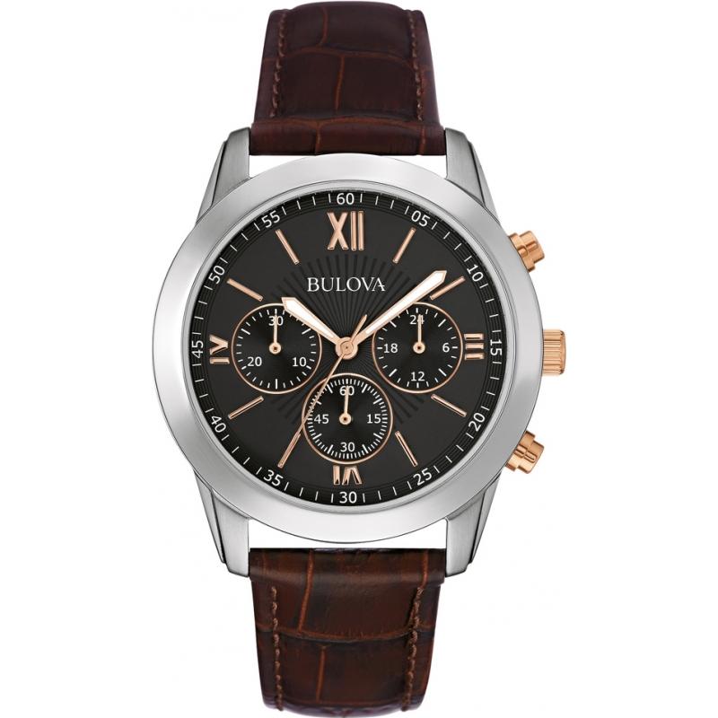 798a70a42441 Bulova 98A142 Mens Dress Brown Leather Chronograph Watch