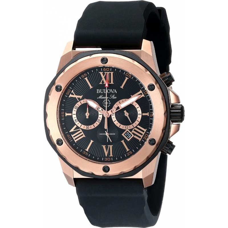 Mens Watches Black And Gold Bulova 98b104