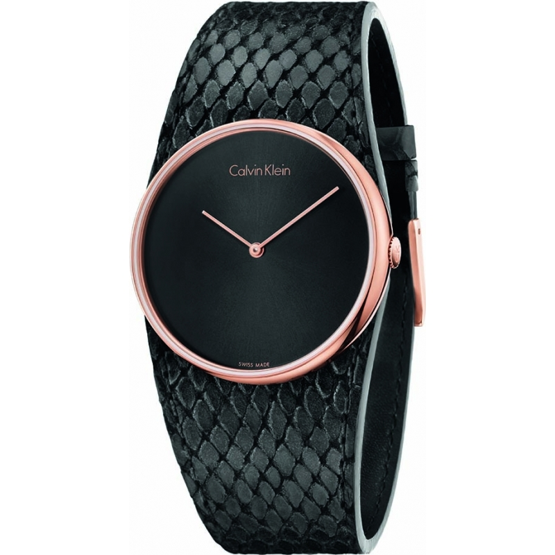 Calvin Klein K5V236C1 Ladies Spellbound Black Leather Strap Watch 1f5cd963107
