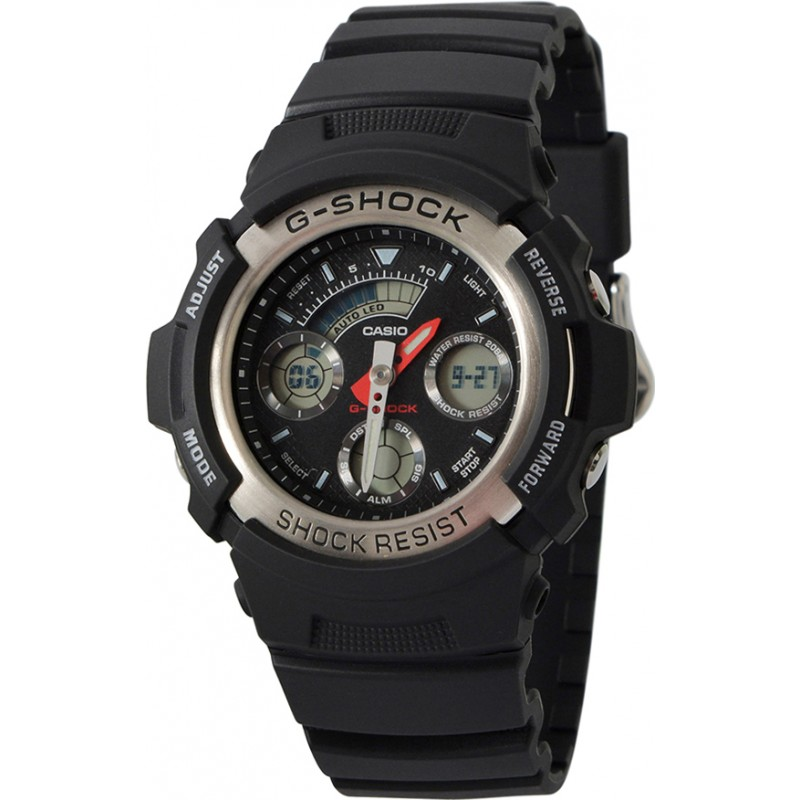 Casio AW-590-1AER Mens G-Shock Black Chronograph Sports Watch