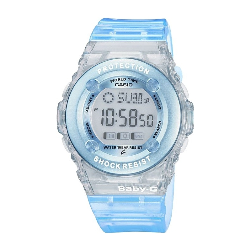 Casio Watches BG-1302-2ER Ladies Baby-G Chronograph Blue Rubber Strap Watch