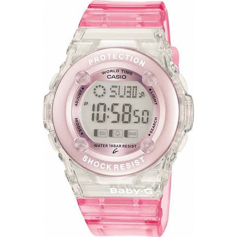 Casio Watches BG-1302-4ER Ladies Baby-G Chronograph Pink Rubber Strap Watch