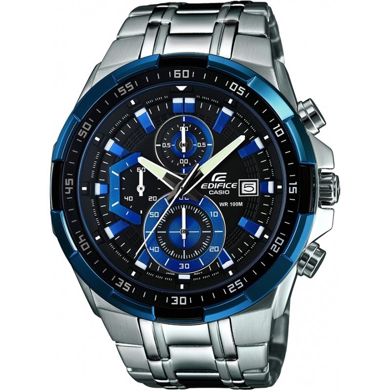 902283cc3979 Casio Mens Edifice Blue Silver Chronograph Watch EFR-539D-1A2VUEF