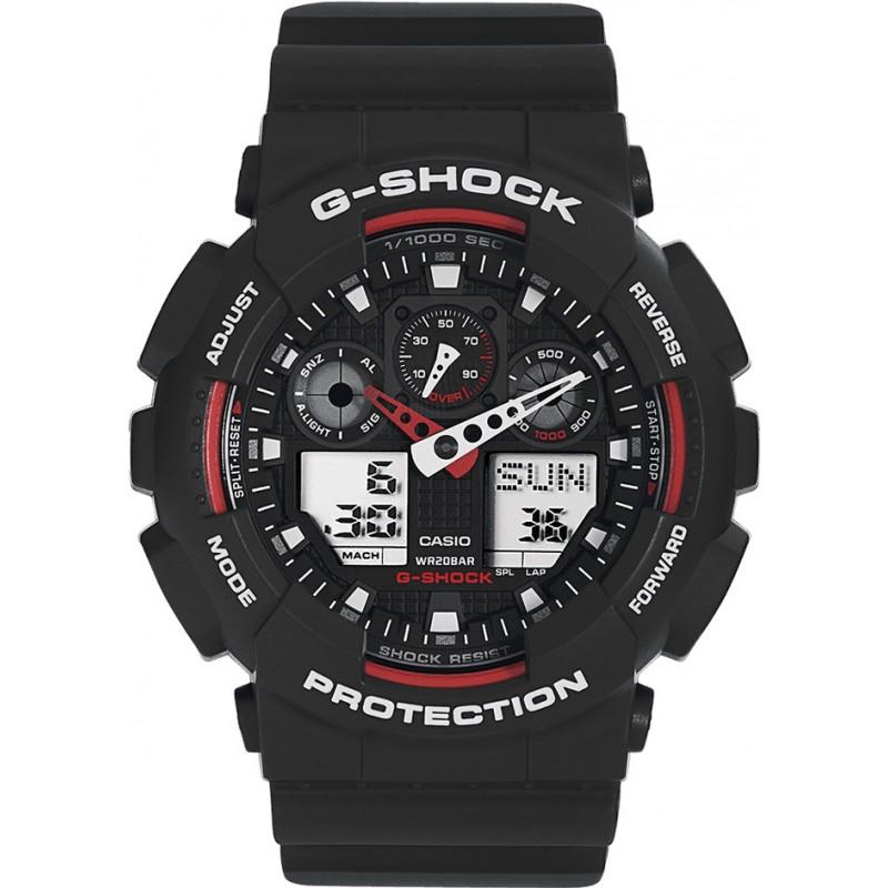 Casio GA-100-1A4ER Mens G-Shock Auto LED Light Black Watch