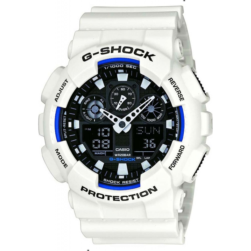 Casio GA-100B-7AER Mens G-SHOCK wereldtijd witte hars Strap Watch