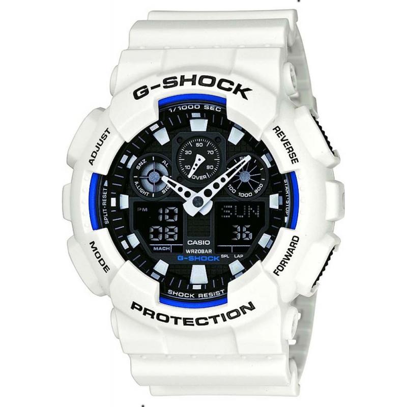 Casio GA-100B-7AER Mens G-Shock World Time White Resin Strap Watch