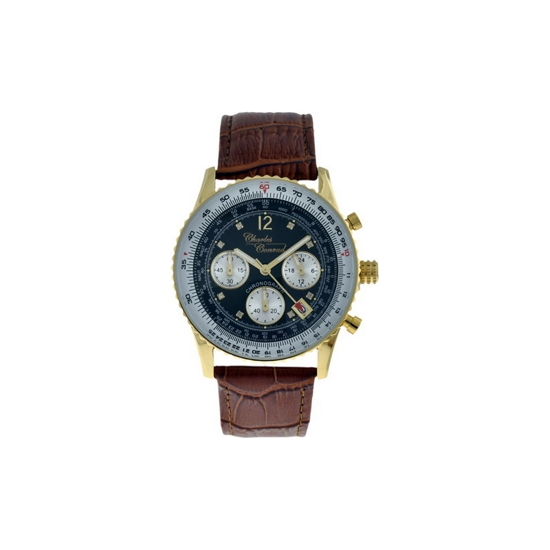 Charles Conrad CC-0123G Mens Air Commander Black Brown Chronograph Watch