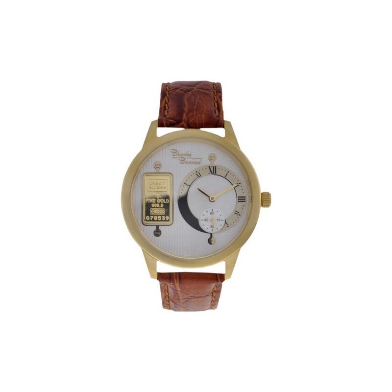 CC-0500G Charles Conrad Mens White Gold Ingot Brown Watch