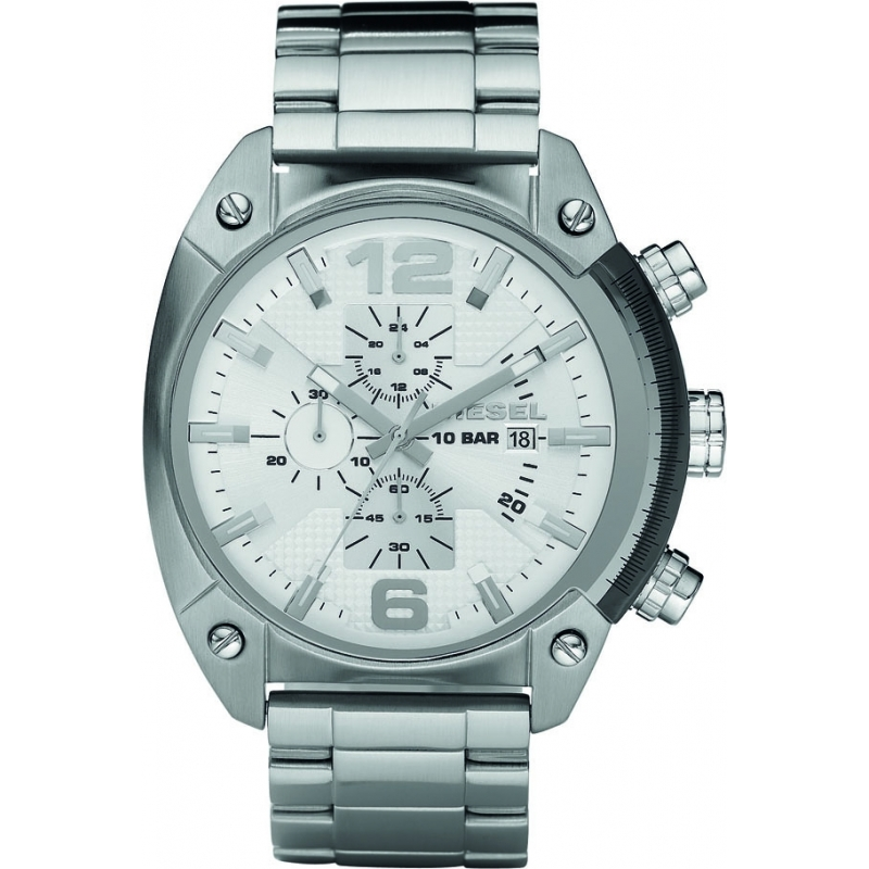 Diesel DZ4203 Mens Overflow Silver Chronograph Watch