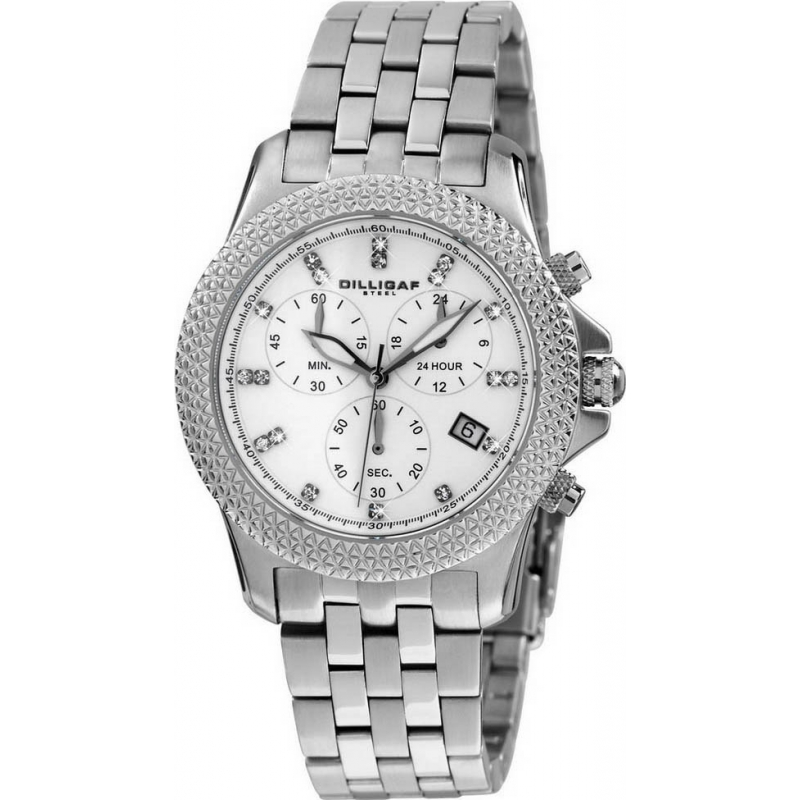 Dilligaf DS3307-206 Ladies Chronograph Crystals White Watch