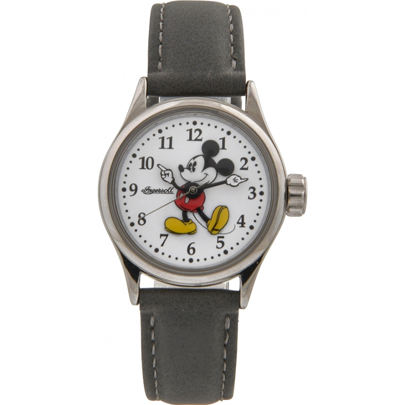 Disney by Ingersoll 25570 Ladies Classic Mickey Mouse Grey Nubuck Strap Watch
