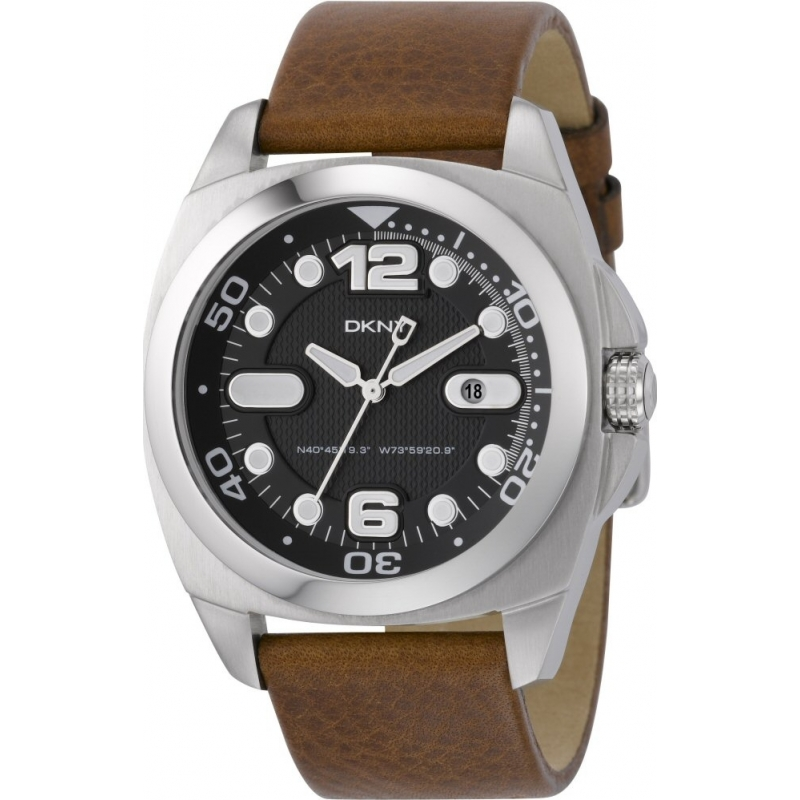 DKNY Watches NY1434 Mens Black Dial Brown Leather Strap Watch