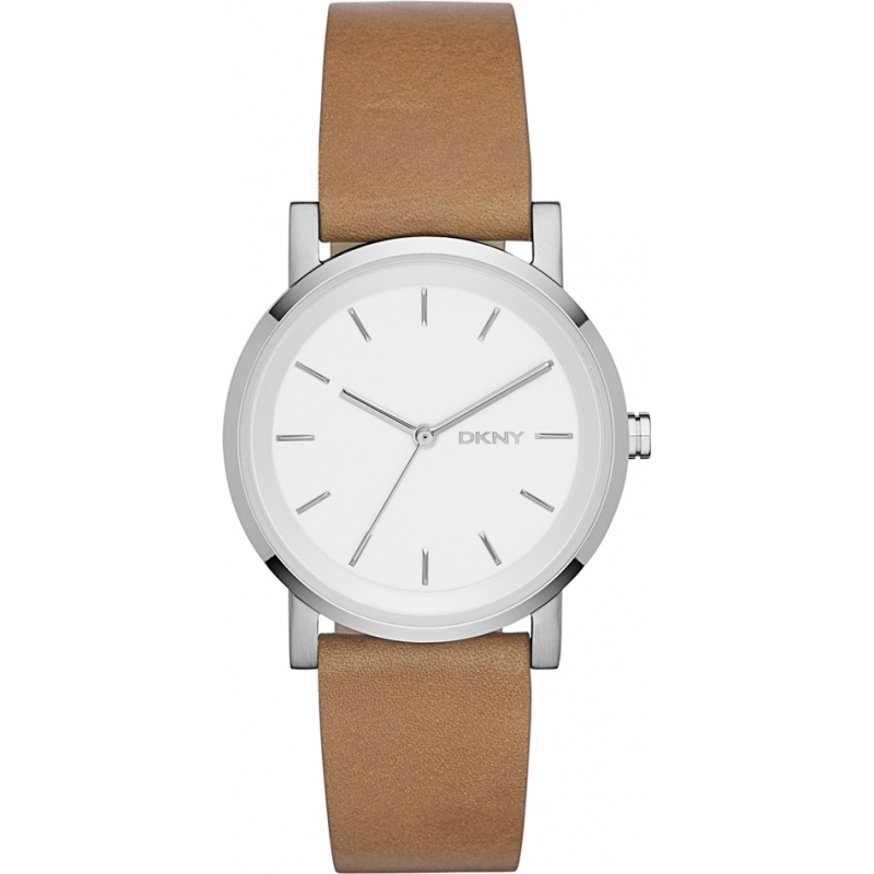 Ny2339 dkny ladies soho brown leather strap watch for Violet leather strap watch