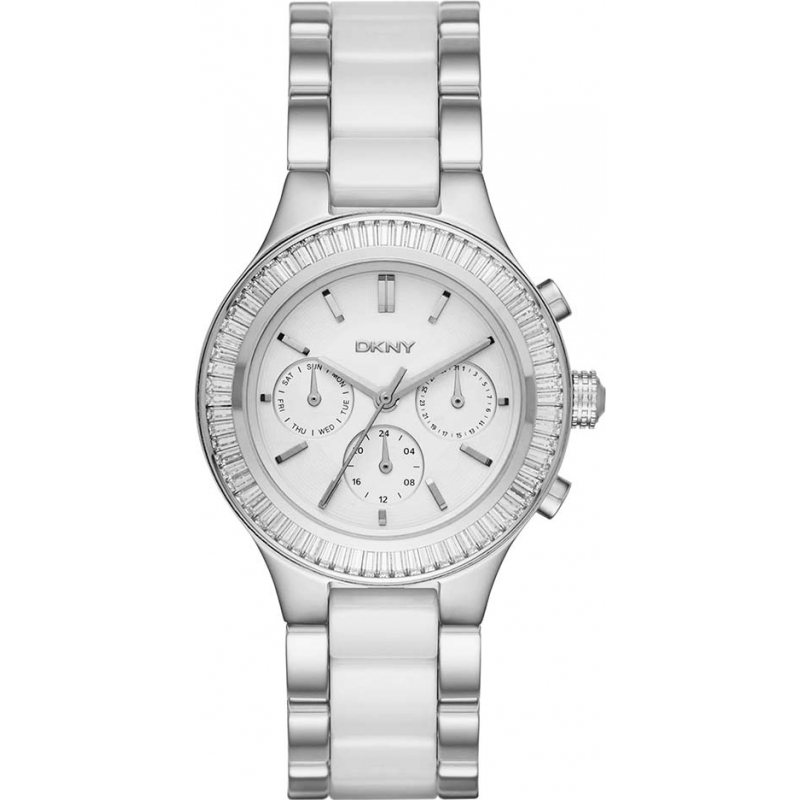 9312bd89d DKNY Ladies Chambers Chronograph White Ceramic Links Steel Watch NY2497