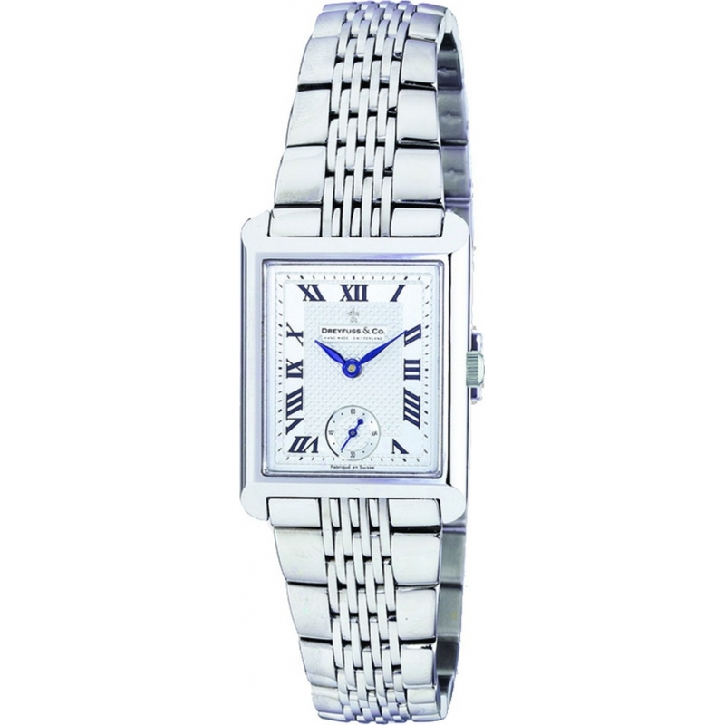 Dreyfuss and Co Watches DLB00007-21 Ladies Silver Roman Dial Stainless Steel Bracelet Watch