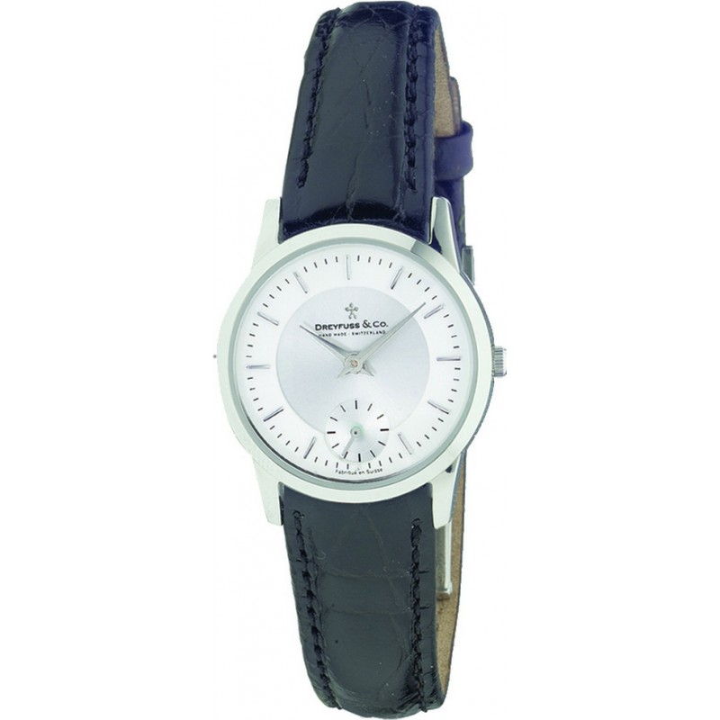 Dreyfuss and Co Watches DLS00001-02 Ladies Sapphire Glass White Dial Black Leather Strap Watch