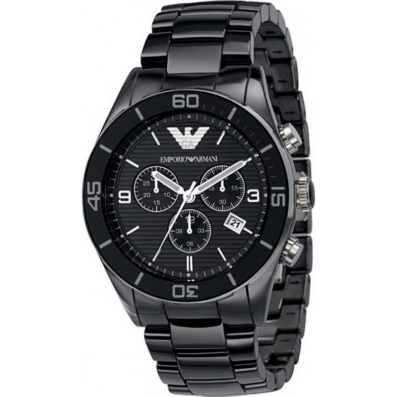 Emporio Armani AR1421 Mens Ceramic Black Chronograph Watch