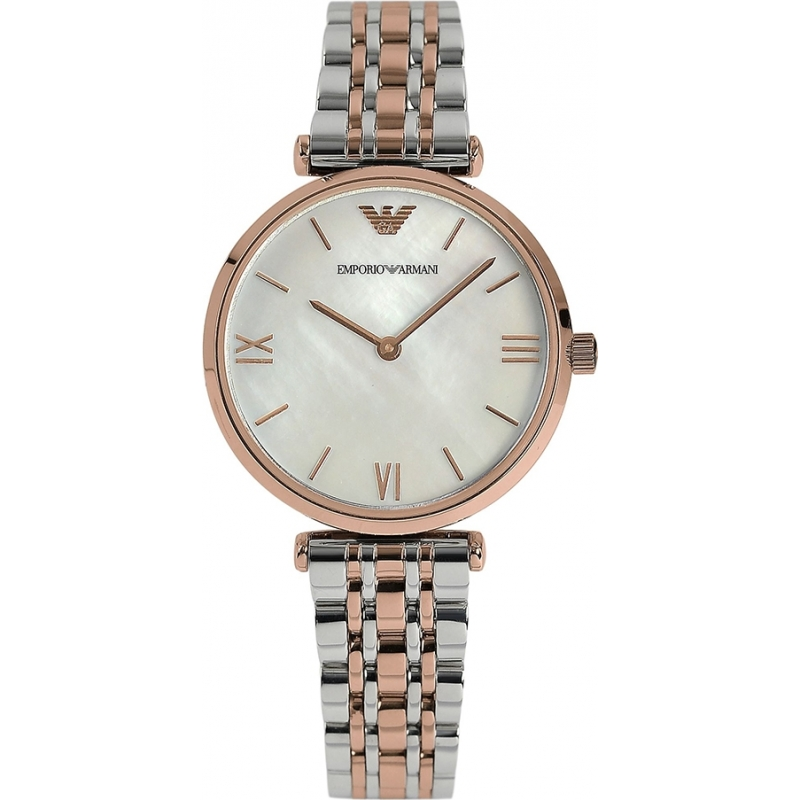 AR1683 - Emporio Armani Ladies Pearl and Rose Gold Dress Watch 416fc82b8972