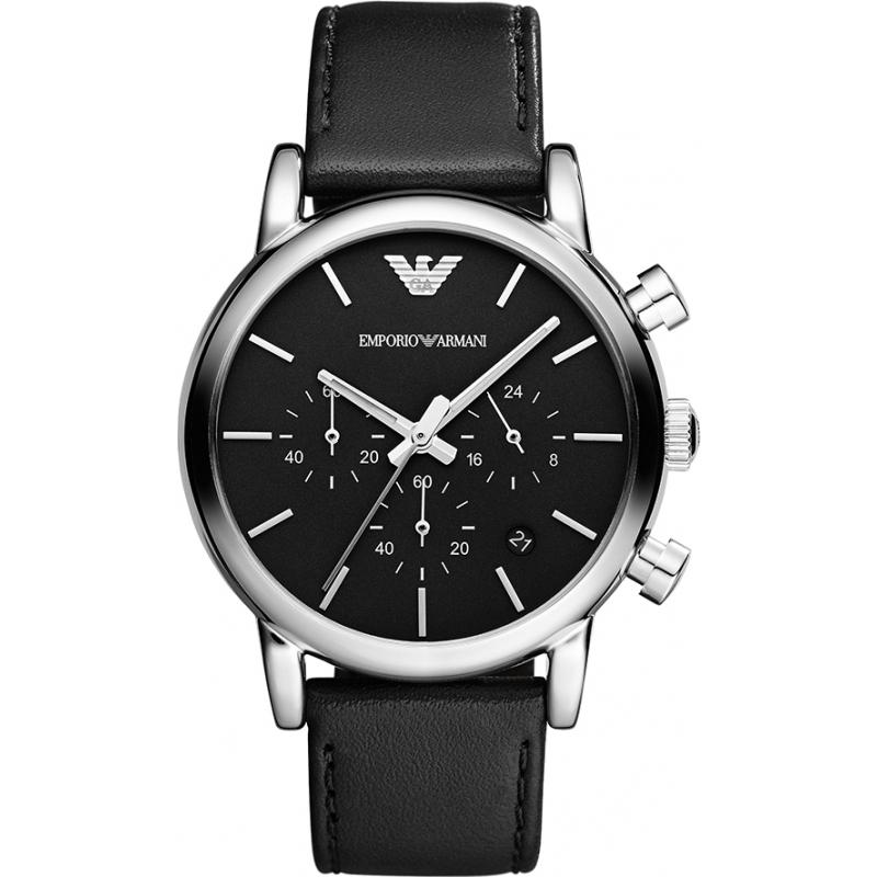 73ebb246956b8 Emporio Armani AR1733 Mens Classic Chronograph Black Leather Strap Watch