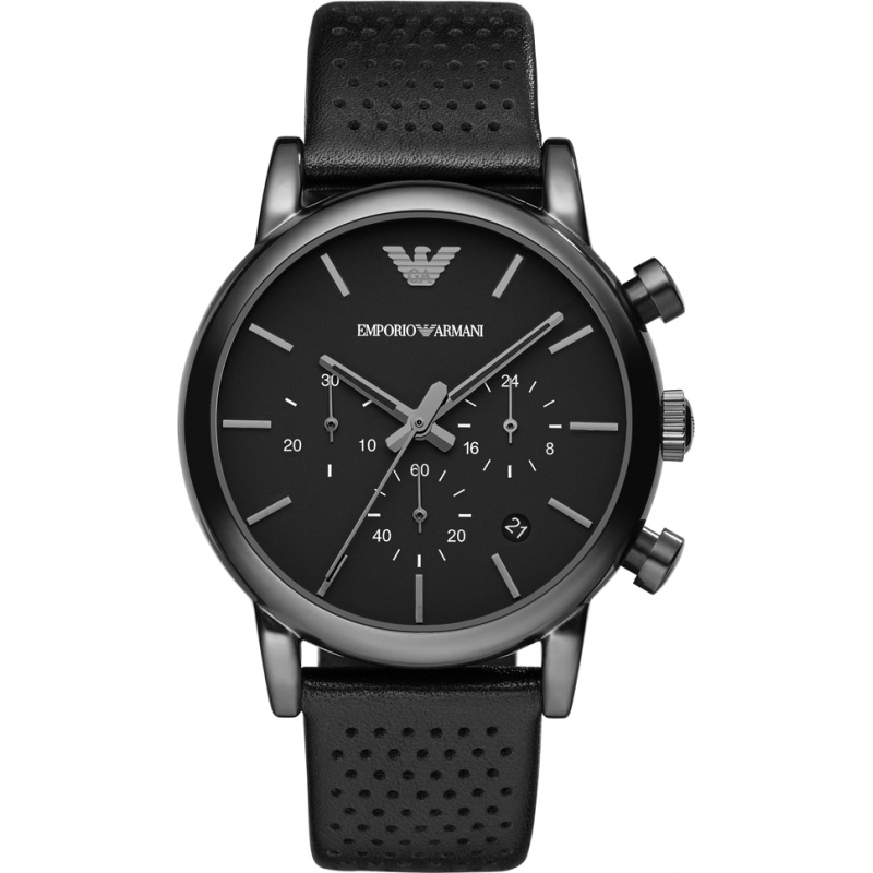 e05cd4165057 Emporio Armani AR1737 Mens Classic Chronograph IP Black Leather Strap Watch