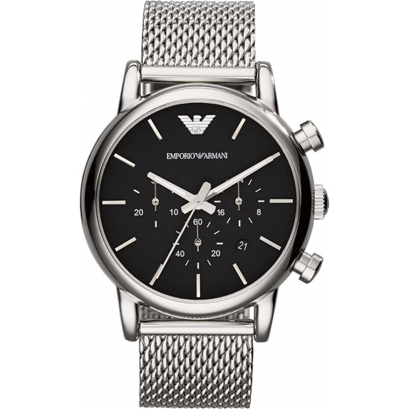 82abf8e785f9c6 Emporio Armani AR1811 Mens Classic Chronograph Black Silver Mesh Bracelet  Watch