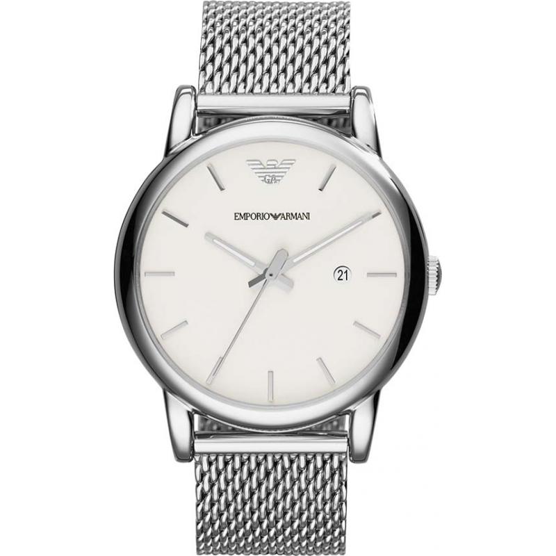 ar1812 mens emporio armani watch watches2u emporio armani ar1812 mens classic white silver mesh bracelet watch
