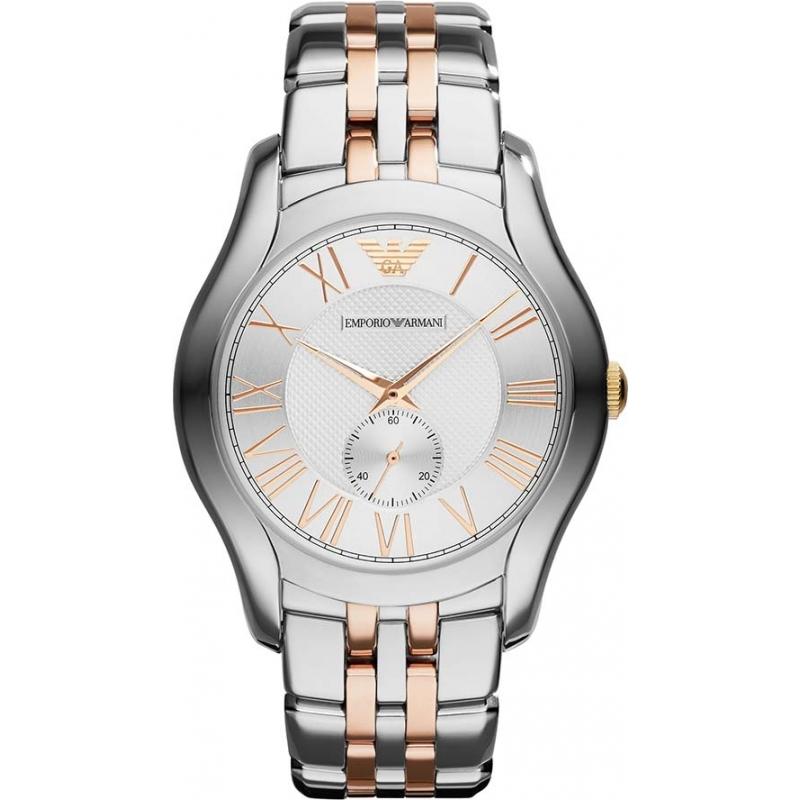 ar1824 emporio armani mens classic silver and rose gold watch emporio armani ar1824 mens classic silver and rose gold watch