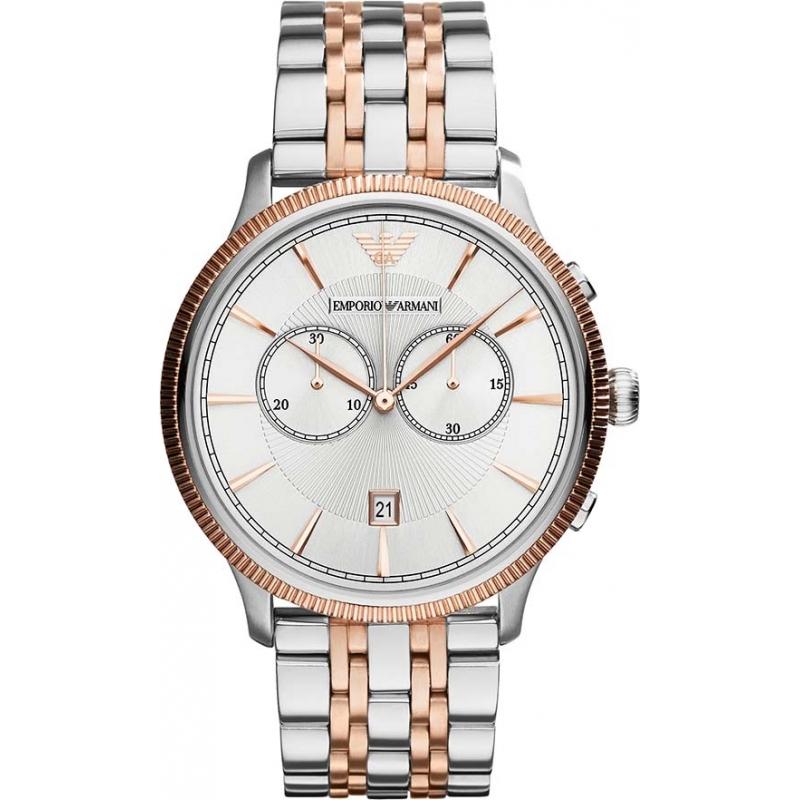 ar1826 mens emporio armani watch watches2u emporio armani ar1826 mens classic silver and rose gold watch