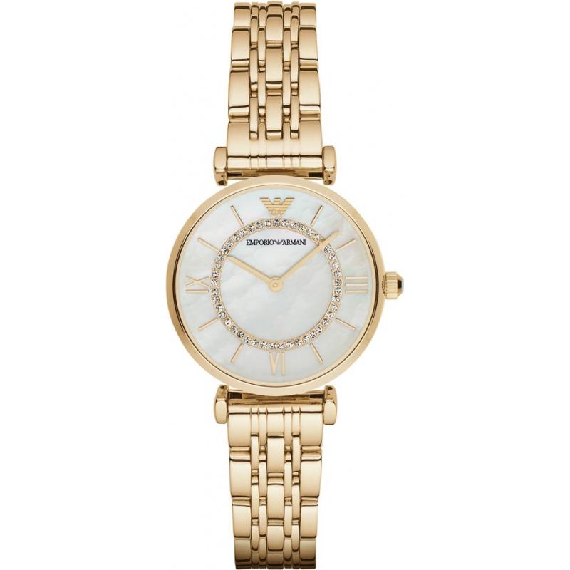2555dcec4fd86 Emporio Armani AR1907 Ladies Gold Plated Link Bracelet Dress Watch