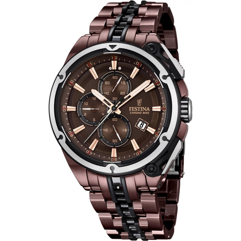 F16883 1 festina mens 2015 limited edition chrono bike tour de france brown watch for Watches of france