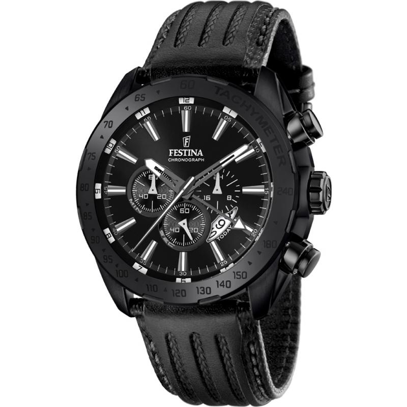 Festina F16902-1 Mens Prestige Black Leather Chronograph Watch 4c39027adc1