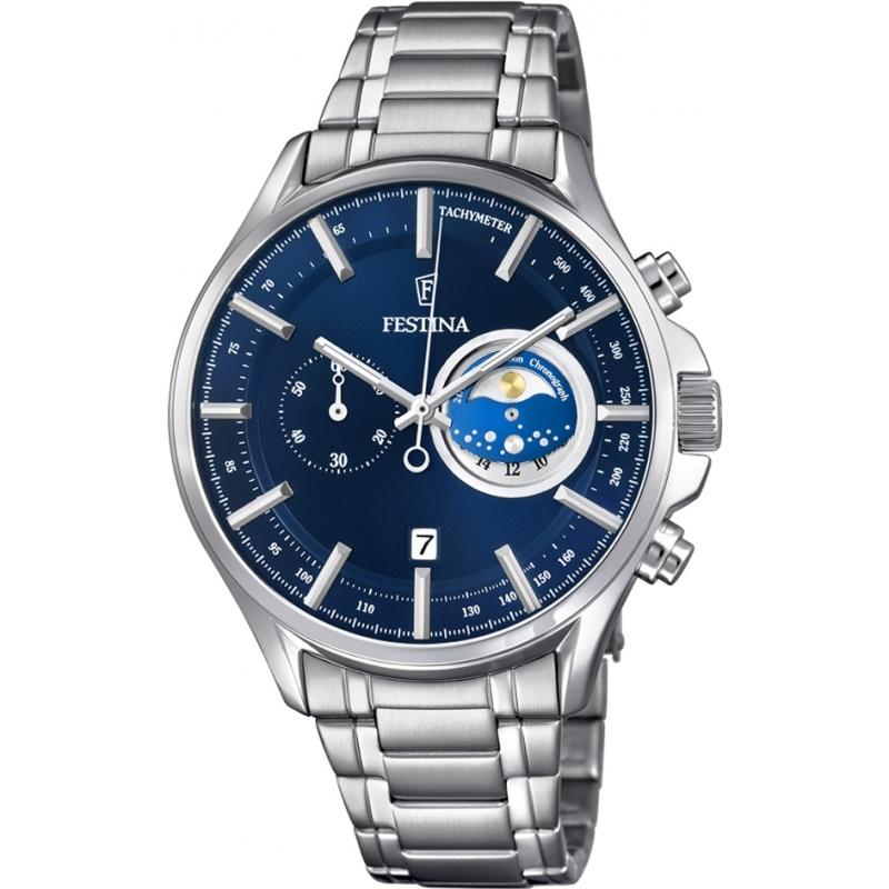 Festina F6852-2 Mens srebrny zegarek chronograf