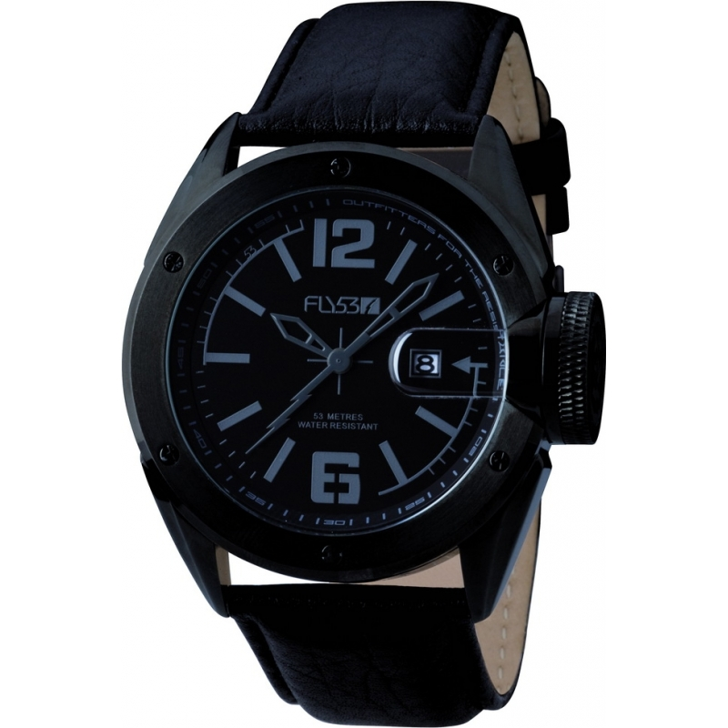 Fly53 Watches FLY1001 Mens Black Dial And Leather Strap Watch