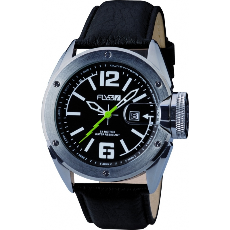 Fly53 Watches FLY1002 Mens Black Dial Black Leather Strap Watch