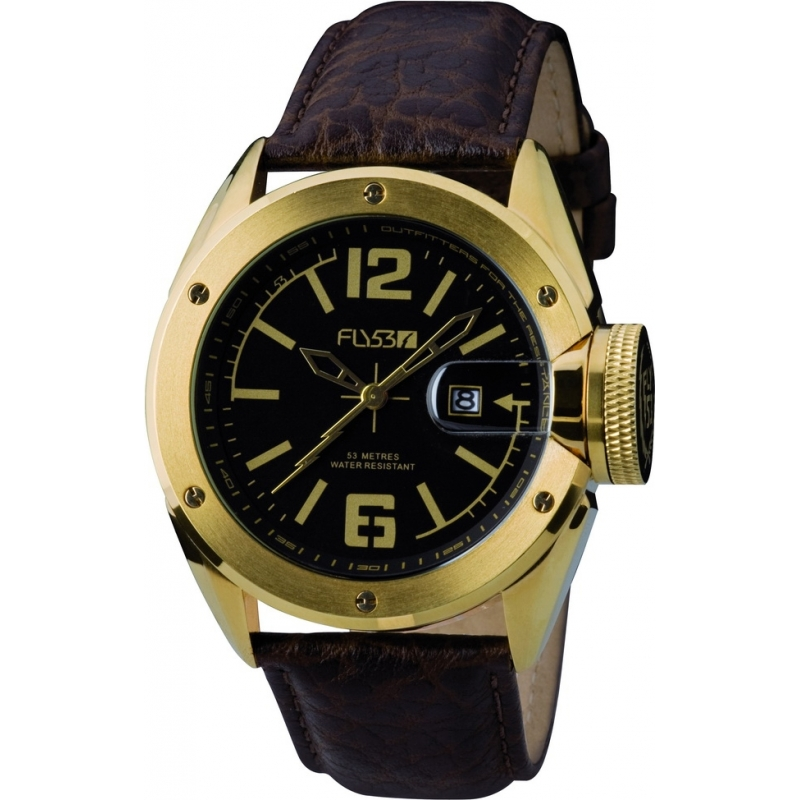 Fly53 Watches FLY1004 Mens Black Dial Brown Leather Strap Watch
