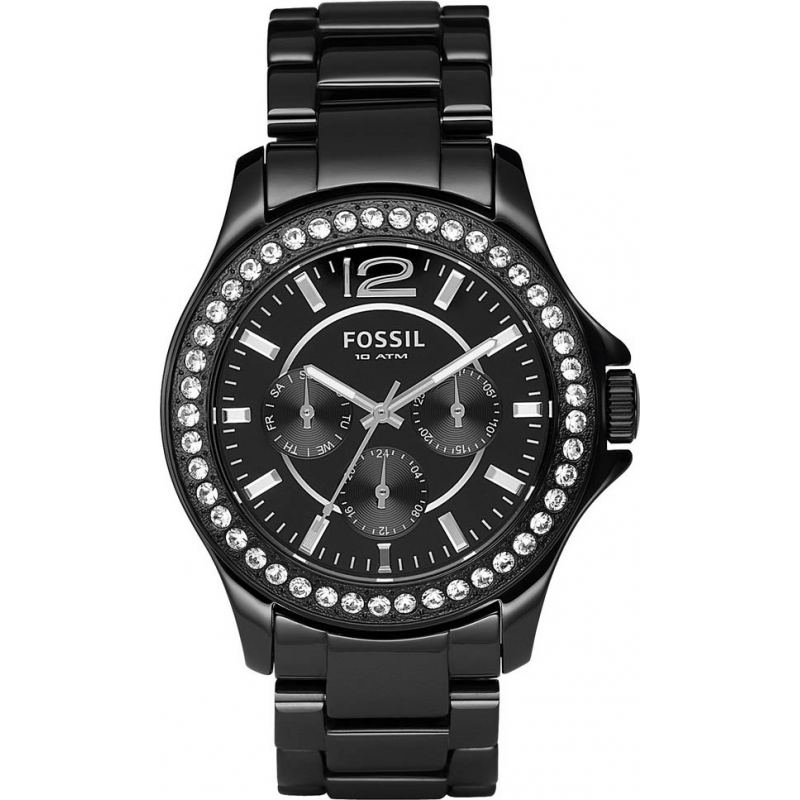 Fossil Watches CE1011 Ladies Ceramic Stones Black Watch