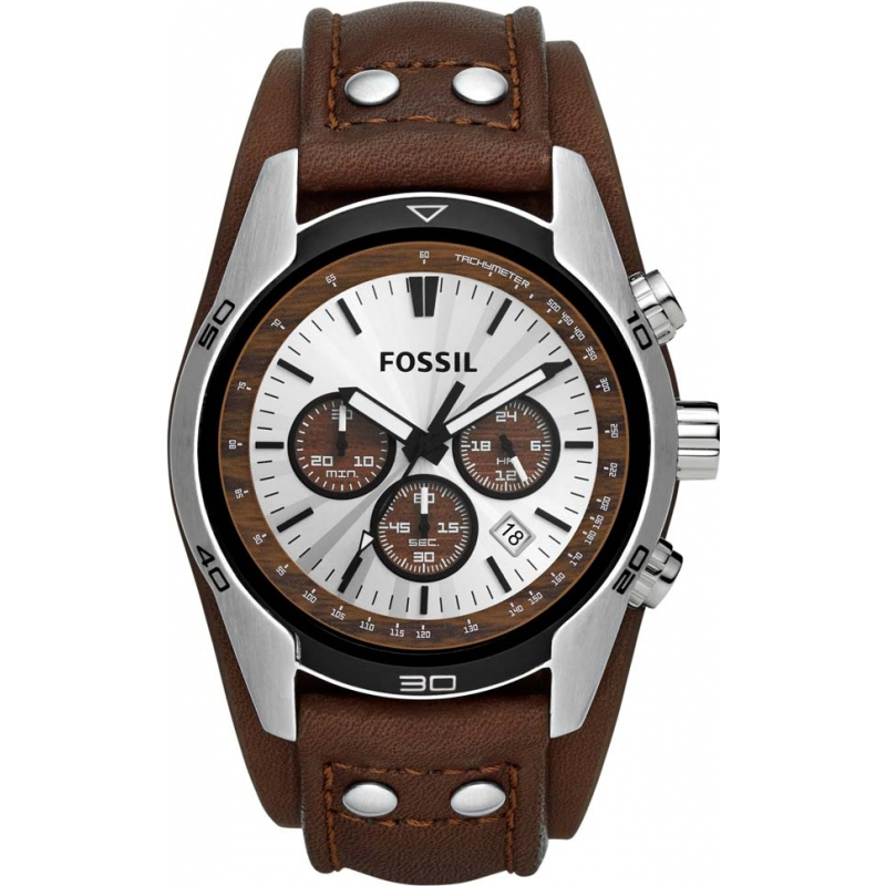 ch2565 fossil mens watch watches2u fossil ch2565 mens coachman brown leather chronograph watch
