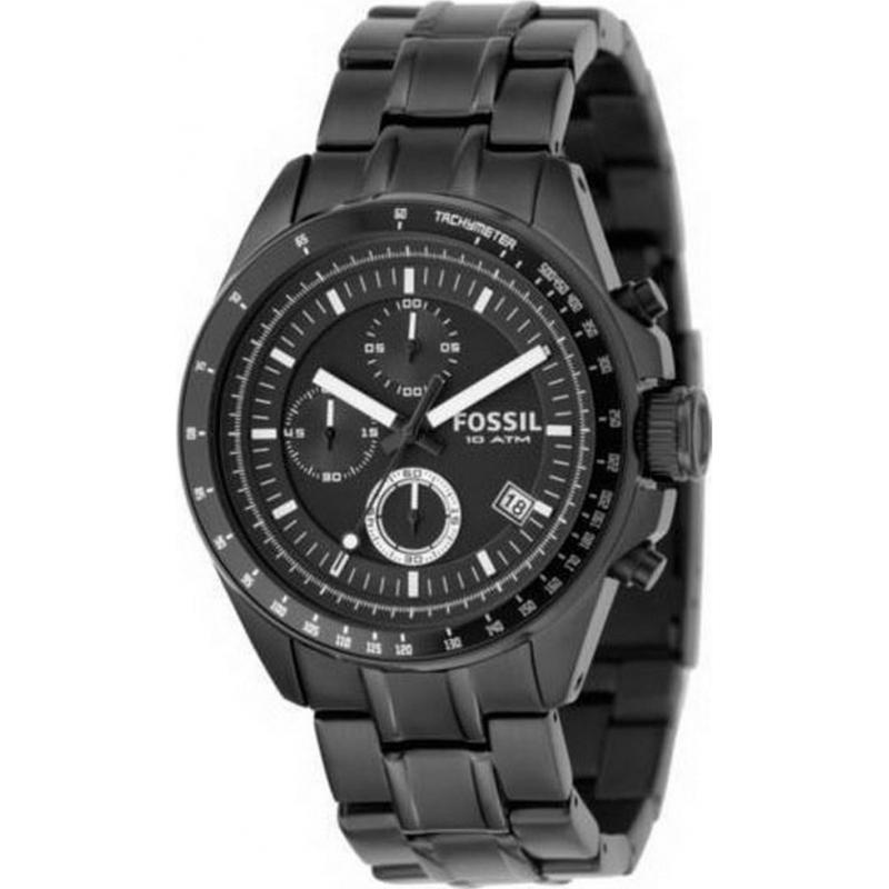 Fossil FS4532 Mens Black Dial Silver Bracelet Watch